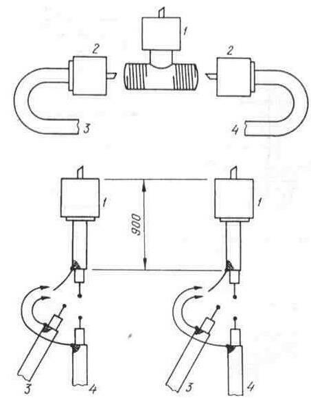 Подключение сдвоенных автомобильных антенн: 1 - к разъему SO-239; 2 - к разъему RL-259; 3 - коаксиальный кабель...