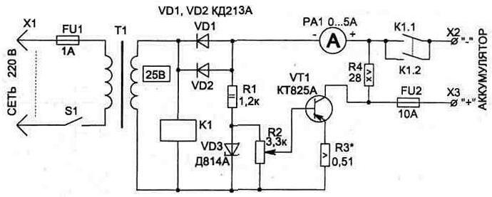 Схема обеспечивает импульсный зарядный ток до 10 А (используется для ускоренного заряда).