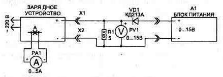 Рис. 4.5.  Схема соединений для настройки зарядного устройства.