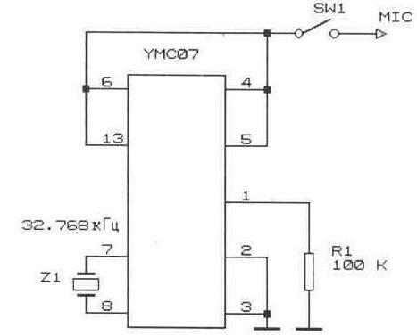 Рис. 5.11 Схема включения синтезатора УМС.