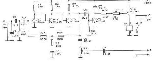 Для голосового управления можно использовать дополнительное устройство, схема которого изображена на рисунке.