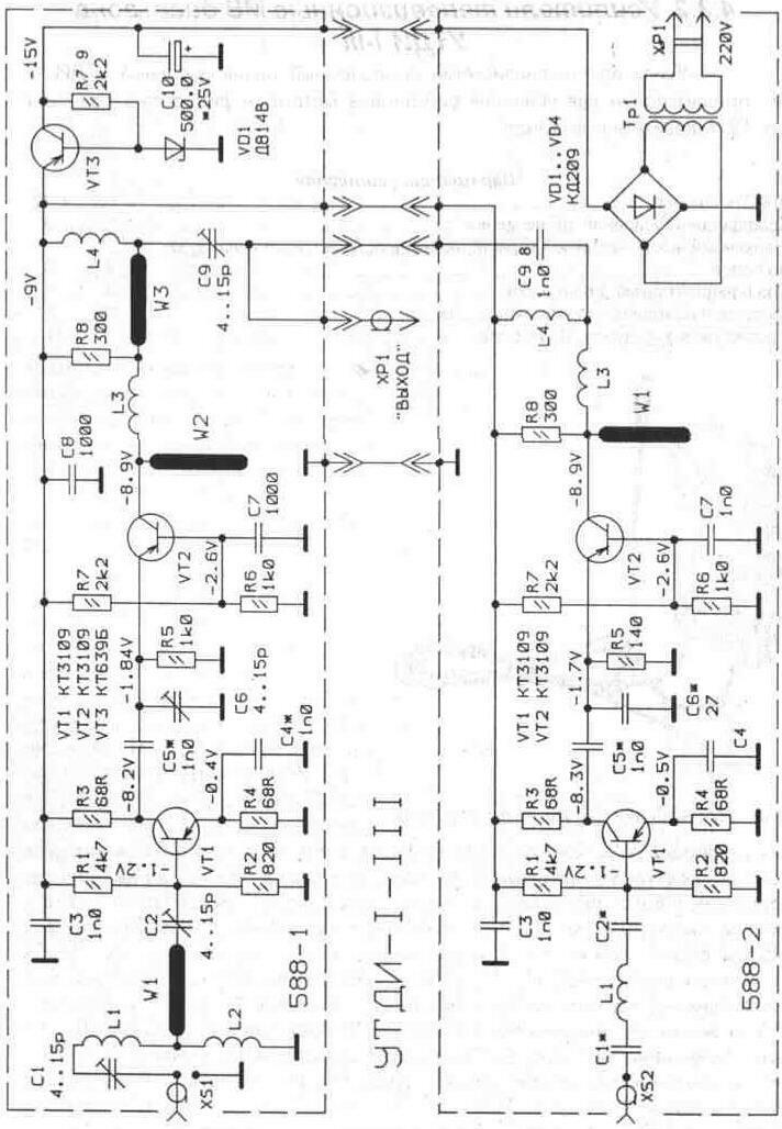 """Внешний вид усилителя  """"Орбита """" ТАИ 21-41.  Антенны.  Вверх."""