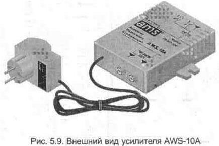 Принципиальная схема усилителя AWS-10A.  Антенны.  Вверх.  Рис. 5.13.  Внешний вид активного антенного разветвителя...