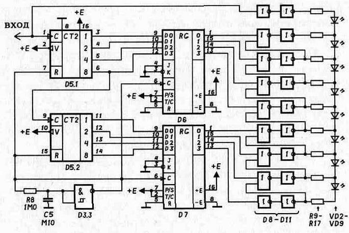 Этот сигнал...  Рис.23.  Принципиальная электрическая схема логарифмического индикатора.