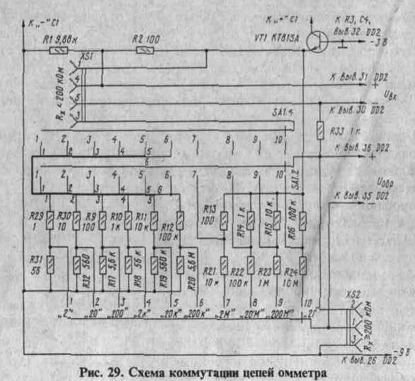 Схема коммутации цепей омметра