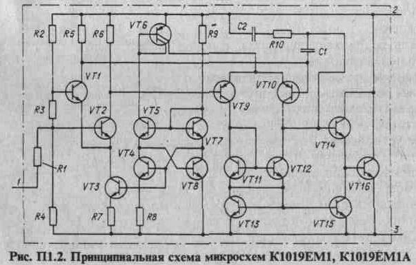 схема микросхем К1019ЕМ1,