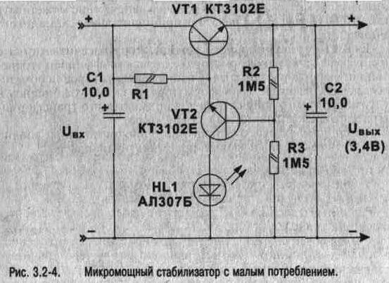 На рис. 3.2-4 приведена принципиальная схема такого стабилизатора с внутренним током потребления 10 мкА и током...