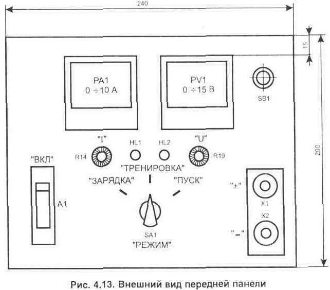 Схема зарядного устройства автомобильных аккумуляторов Электрон-3М .