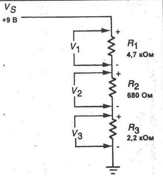 ...ранее, рассчитайте и запищите ожидаемый ток в... 5. Подключите источник питания 9 В к схеме (см. рис. 4-4) .