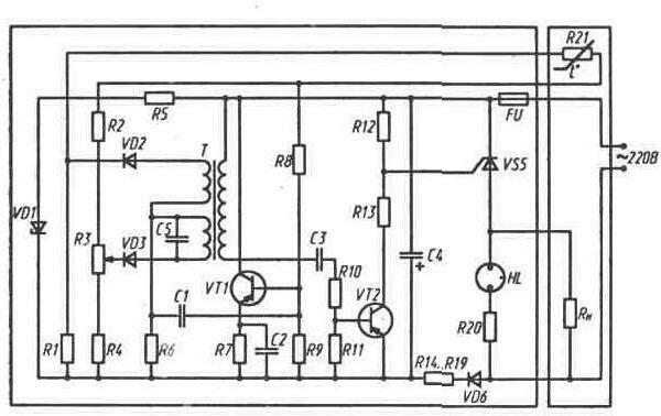 Рис. 11.2.  Принципиальная схема лабораторного термостата (типономиналы элементов схемы приведены в прил.
