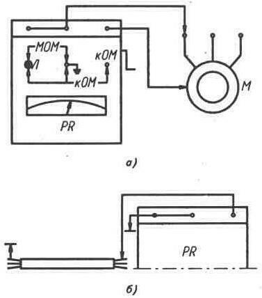 Схема применения мегаомметра