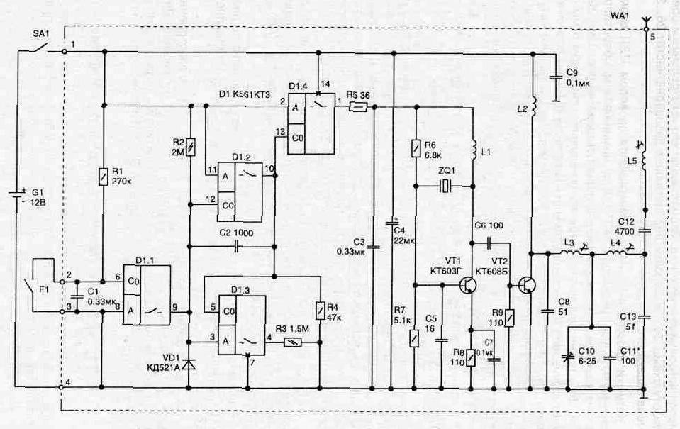 2.73. Радиопередатчик.  Это упрощает его изготовление и обеспечивает работу схемы без подстройки...