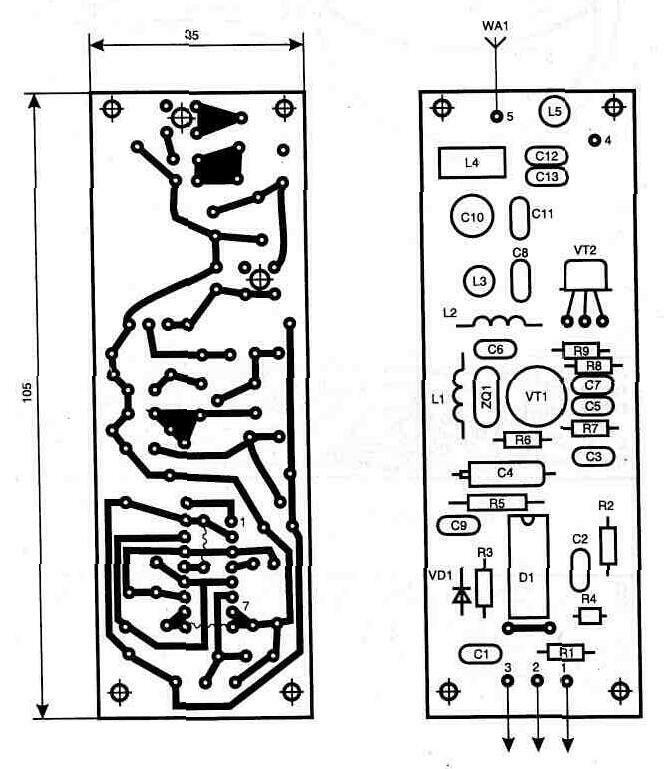 Все элементы схемы радиопередатчика расположены на печатной плате размером 105х35 мм из одностороннего...