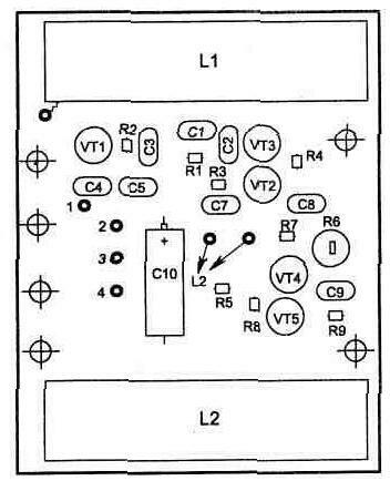 Принцип работы звукового генератора на транзисторах VT6 и VT7 аналогичен с приведенной схемой на рис. 4.12.