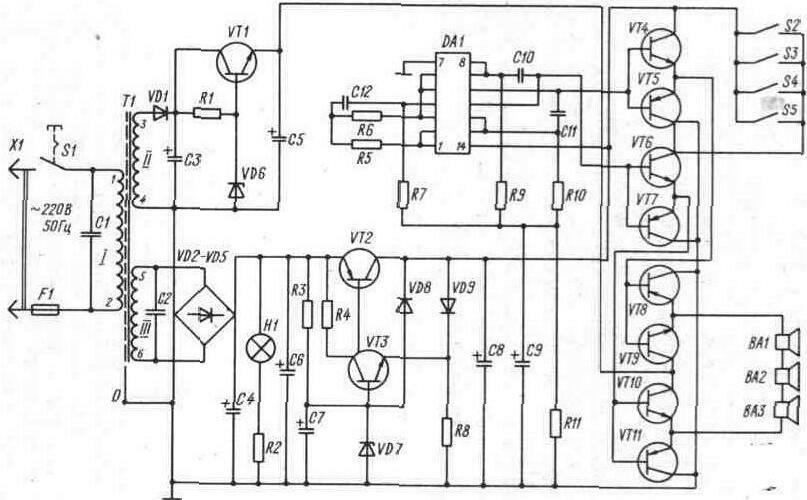 Принципиальная схема электронного устройства охраны и сигнализации на...