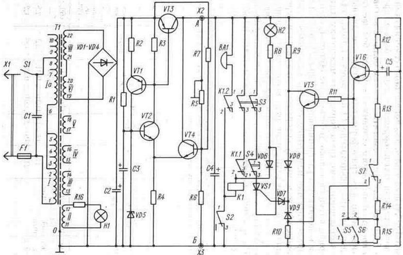 Принципиальная схема сторожевого устройства на ППП со световой и звуковой сигнализацией.
