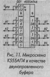 Рис. 11 Микросхема К555АП4 в качестве двунаправленного буфера