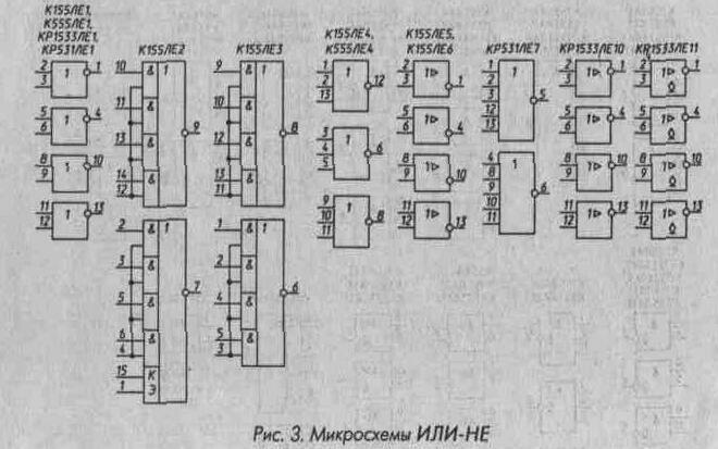 Рис. 3 Микросхемы ИЛИ-НЕ