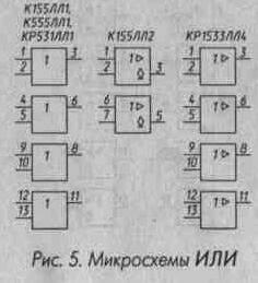 Рис. 5 Микросхемы ИЛИ