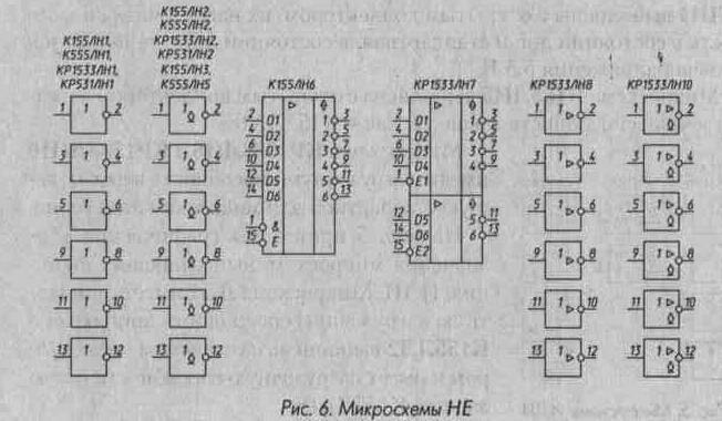 Нумерация выводов. у 155ЛН1 и ЛН2 - то же самое, только на вывод 14 подаем +5В.