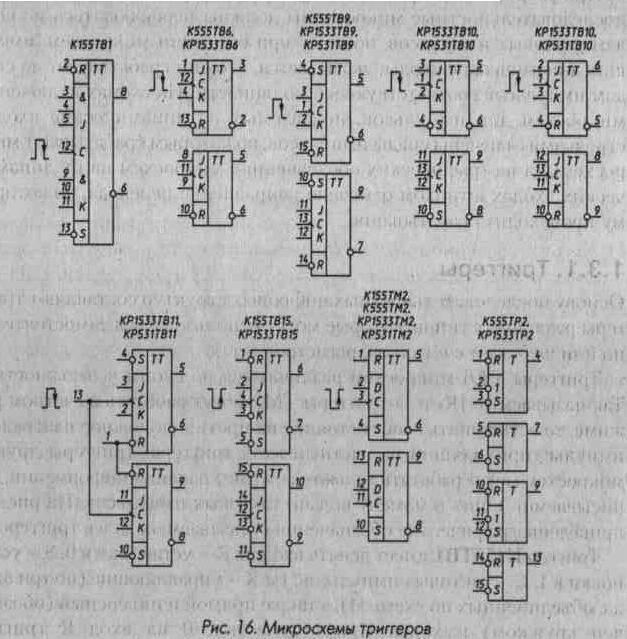 Рис. 16 Микросхемы триггеров