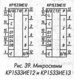 Рис. 39 Микросхемы КР1533ИЕ12 и КР1533ИЕ13