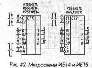 Рис. 42 Микросхемы ИЕ14 и ИЕ15