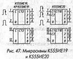 Рис. 47 Микросхемы К555ИЕ19 и К555ИЕ20