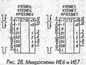 Рис. 28 Микросхемы ИЕ6 и ИЕ7