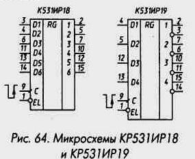 Рис. 64 Микросхемы КР531ИР18 и КР531ИР19