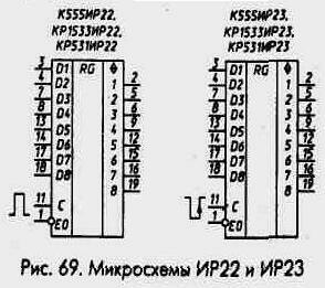 Рис. 68 Микросхемы ИР22 и ИР23