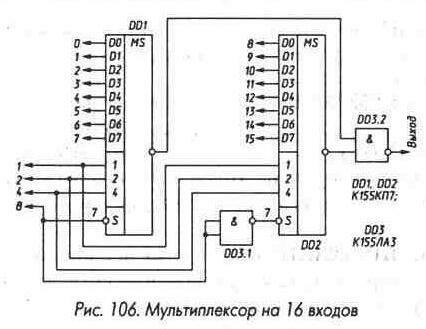 мультиплексор на 16 входов