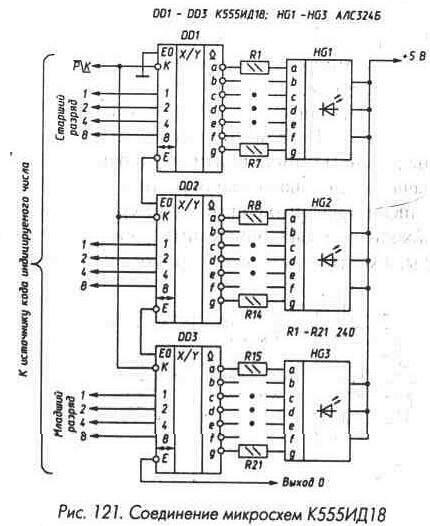 Рис. 121 Соединение микросхем К555ИД18