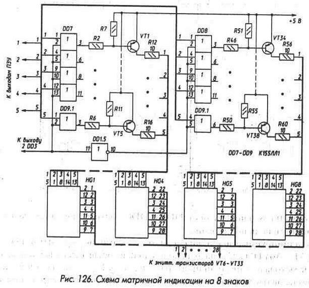 Рис. 126 Схема матричной индикации на 8 знаков