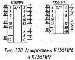 Рис. 128 Микросхемы К155ПР6 и К155ПР7
