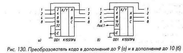 Рис. 130 Преобразователь кода в дополнение до 9 и дополнение до 10