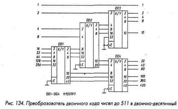 Рис. 134 Преобразователь двоичного кода чисел до 511 в двоично-десятичный