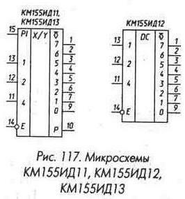 Рис. 117 Микросхемы КМ155ИД11, КМ155ИД12, КМ155ИД13