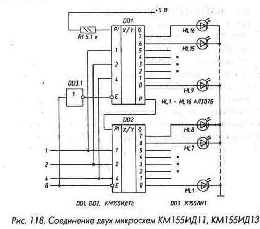 Рис. 118 Соединение двух микросхем КМ155ИД11, КМ155ИД13