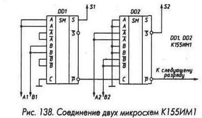 Рис. 138 Соединение микросхем К155ИМ1