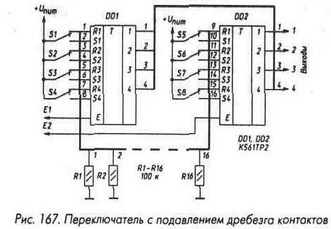 Микросхема К561ТМЗ (рис. 168) - четыре D-триггера с прямыми и инверсными выходами.  Микросхема имеет два общих для...