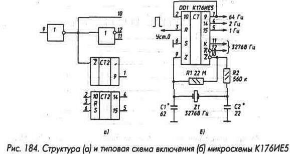 Рис. 184 Структура и типовая схема включения микросхемы К176ИЕ5