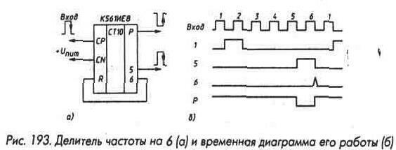 Рис. 193 Делитель частоты на 6 и временная даграмма его работы