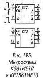 Рис. 195 Микросхемы К561ИЕ10 и КР561ИЕ10
