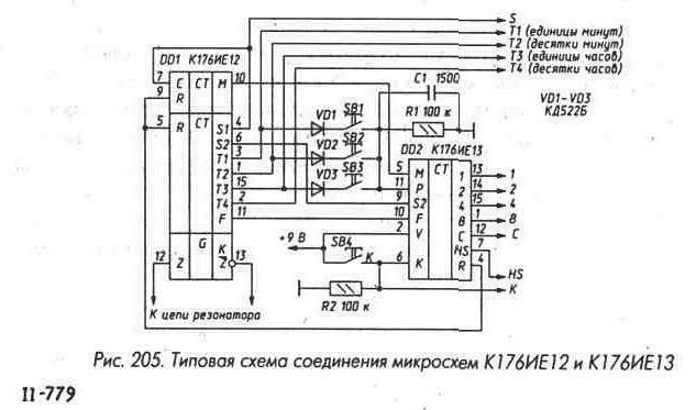 Справочники.  Вверх.  Thumbnail.  Рис. 204 Счетчик на микросхемах К561ИЕ11 с последовательным переносом.