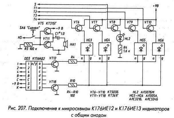 Рис. 207 Подключение к микросхемам К176ИЕ12 и К176ИЕ13 индикаторов с общим анодом