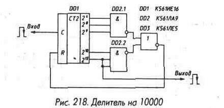 Рис. 217 Соединение микросхем К561ИЕ10 и К561ИЕ16 для получения младших разрядов и увеличения разрядности