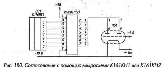 Рис. 180 Согласование с помощью микросхемы К161КН1 или К161КН2