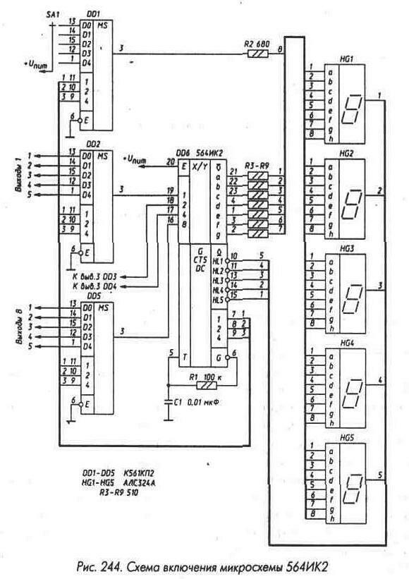 Рис. 243 Временная диаграмма работы микросхемы 564ИК2.  Original.  Рис. 245 Индикация фиксированной запятой.