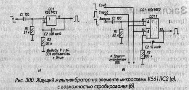 Рис. 300 Ждущий мультивибратор на элементе микросхемы К561ЛС2